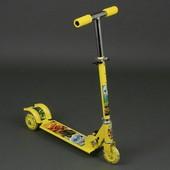 Самокат жёлтый Нинзяго 3 колеса PVC , свет, d-9.5см 3206 / 779-52 металлический