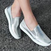 Слипоны серебро женские 41 Обмен возврат гарантия