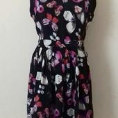 Вискозное платье с шифоновой вставкой