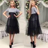 Платье с шифоновой сеткой