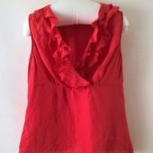 женская красная блуза с рюшами 100% лен