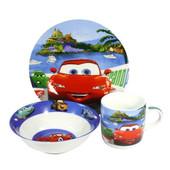 Детский набор посуды из керамики Тачки 3 предмета