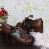 39 25см Salamander Кожаные закрытые туфли на широком каблуке