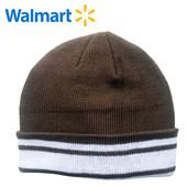 Шапки деми на 7-13 лет Walmart Америка коричневая в полоску двойная вязка