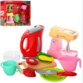 Набор бытовой техники чайник, миксер механич , посуда, продукты, в коробке