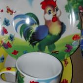 Детский набор посуды с петушком, 3 предмета