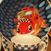 Детский набор посуды из стеклокерамики с машинками , 3 предмета