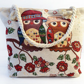 Пляжные текстильные сумки,принт совы.
