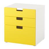 Комод с 3 ящиками, желтый, 60x64 см ikea икеа 891.671.57