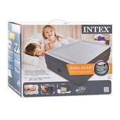 Велюровая надувная кровать Intex 64418 со встроенным насосом (203-152-56 см)