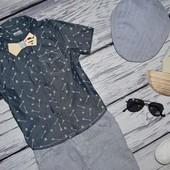 12 - 18 месяцев 86 см Фирменная красивенная рубашечка рубашка тенниска джинсовая