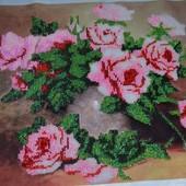 Картина вишита бісеромЧайні троянди 28,4 см *36,7 см
