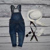 12 - 18 месяцев 86 см фирменный Джинсовый комбинезон модникам манжеты
