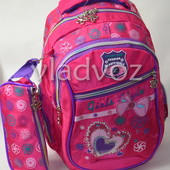 Школьный рюкзак для девочки с пеналом бантик малиновый 3410