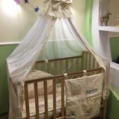 Кроватка, постель, защита, одеяло, подушка, балдахин
