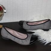 37 23,5см Ferroni Элегантные замшевые балетки лакированный носочек