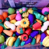 Резиновые овощи и фрукты для кухни и кукол. Размер 3-5см. Не боятся воды и песка. Качество!
