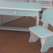 Столик и стульчик с регулировкой высоты. Мята/белый. Николаев.