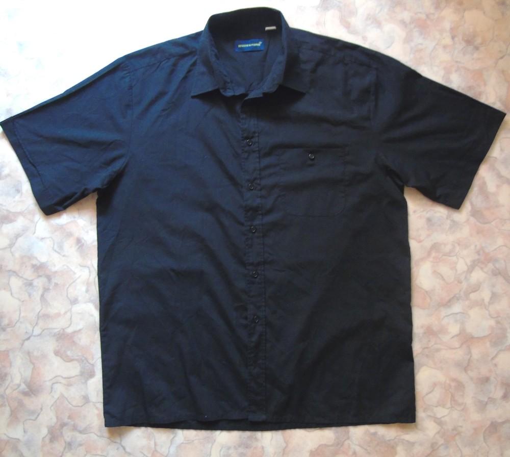 Черная рубашка 52-54 с кор. рук. фото №1
