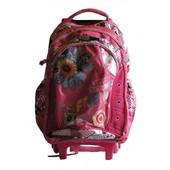 Рюкзак школьный на колесах розовый