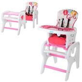 Детский стульчик M 0816-18 для кормления Bambi , трансформер, со столиком, розовый