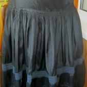 Шикарная летняя миди-юбка ярусная с вышивкой и кружевом