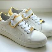 Новинка стильные кожаные кеды/мокасины код: ИН Лс-209 белая кожа\ кожа золото