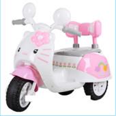 Детский мотоцикл 99118A-8 на аккумуляторе, Hello Kitty, бело-розовый