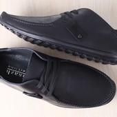 Мужские мокасины, черные, кожаные, на шнурках