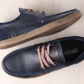 Мужские спортивные туфли, синие, из натуральной кожи, с вставками из натурального нубука, на шнурках