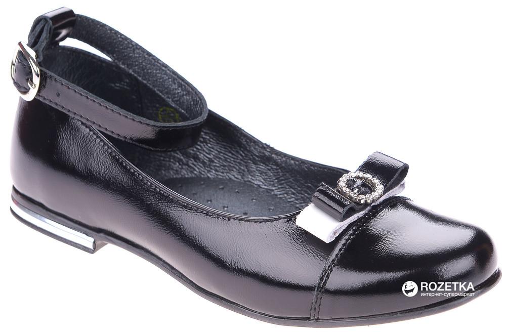 Туфли школьные кожаные на девочку р32-35 берегиня черный фото №1