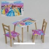 """Столик и два стульчика деревянные """"Принцессы"""" С 081"""