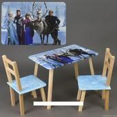 """Столик и два стульчика деревянные """"Frozen"""" С 102"""