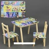 """Столик с ящик и два стульчика деревянные """"Губка Боб"""" С 062"""
