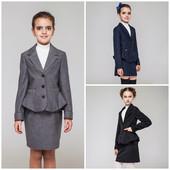 Виола костюм двойка пиджак, юбка 128-158р. черный,серый,синий