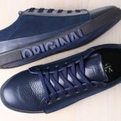 Мужские кеды, синие, комбинированные: натуральная кожа и нубук, на шнурках