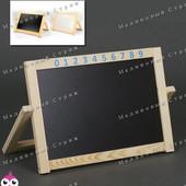 Двусторонний деревянный мольберт, для рисования мелом и фломастерами, 52х37см