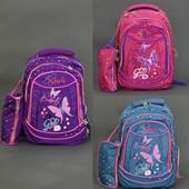 Рюкзак школьный, Butterfly, 4 вида, 3 отделения, 2 кармана, пенал, спинка ортопедическая