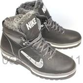 Высокие ботинки мужские, натуральная кожа, черно-серые