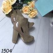 Женские ботинки на каблуке  беж