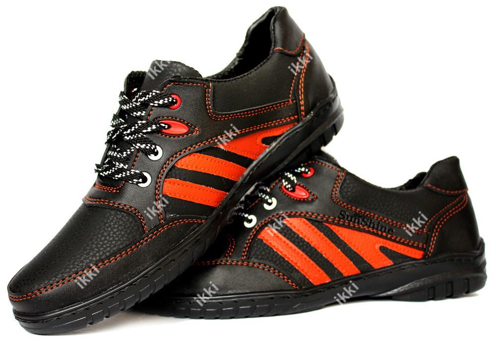 Яркие мужские кроссовки черные с красными вставками (СКР-9чр) фото №1