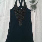 Красивое трикотажное платье бутылочного цвета от Esprit,p.M/L