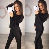 Классный , модный костюм двойка черный и красный