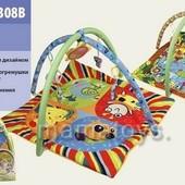 Коврик Развивающий для младенца мягкий с подвесками 898-307-308B 2 вида