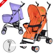 Коляска детская трость aria S1-7, оранжевая и фиолетовая