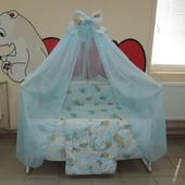 Детское постельное белье голубое, мишки клетка 9 В 1