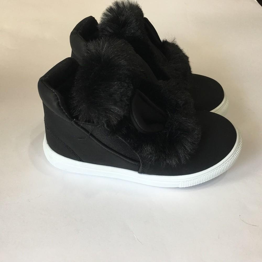 Ботинки демисезонные черные с ушками и мехом фото №1