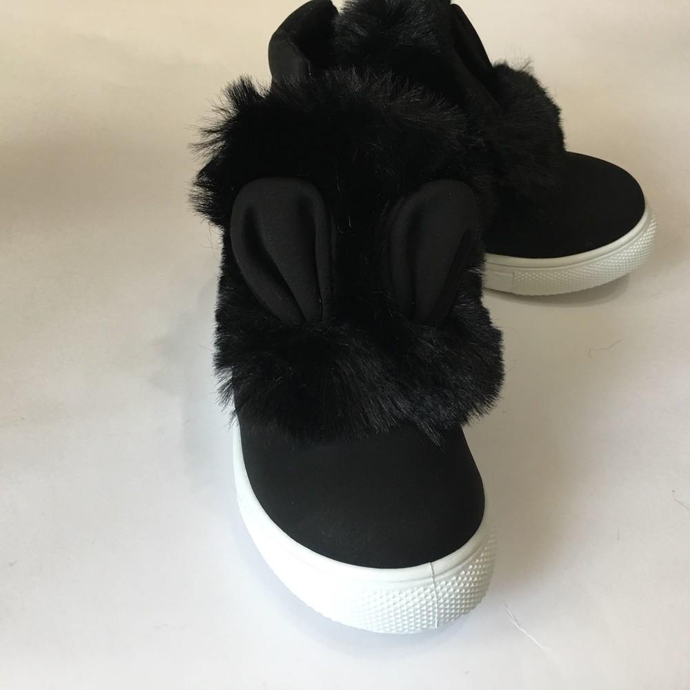 Ботинки демисезонные черные с ушками и мехом фото №3