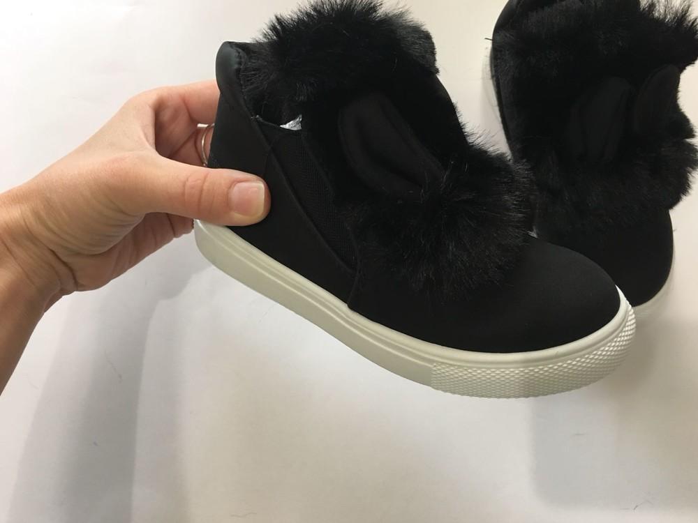 Ботинки демисезонные черные с ушками и мехом фото №6