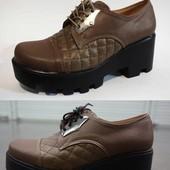 Удобные качественные туфли на тракторной подошве 5.5 см каблук